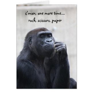 Funny Gorilla Birthday, rock scissors paper Card