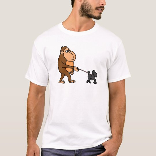 Funny Gorilla Walking Black Poodle Dog T-Shirt
