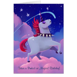 Funny Goth Punk Cartoon Unicorn on Clouds Card