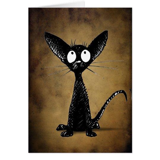 Funny gothic black oriental cat custom card