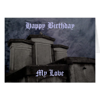 Funny Gothic cemetery Birthday Card