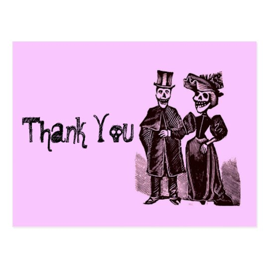 Funny Gothic Halloween Wedding Thank You Postcard