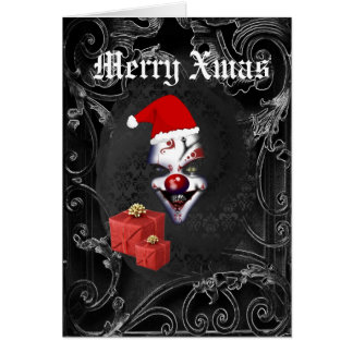 Funny  gothic santa black Christmas Card