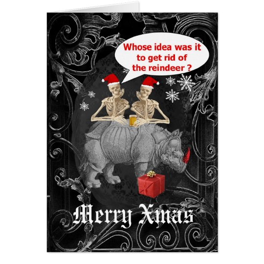 Funny gothic skeletons black Christmas Card