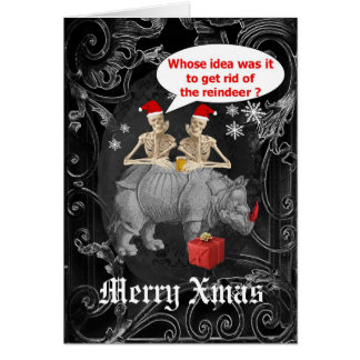 Funny  gothic skeletons black Christmas Greeting Card