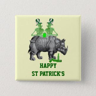 Funny gothic skeletons Irish  St Patrick's day 15 Cm Square Badge