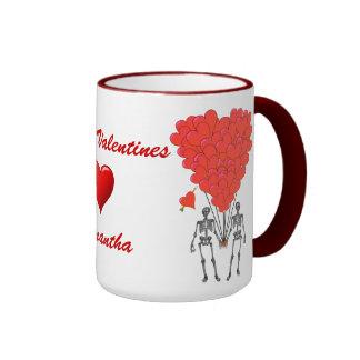 Funny gothic skeletons & love heart Valentines Ringer Mug