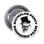 Funny gothic skull Bachelor party drinking team 6 Cm Round Badge