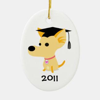 Funny Graduation Dog Ceramic Oval Decoration
