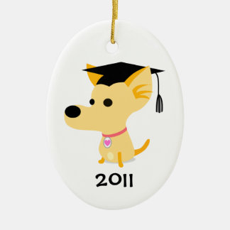 Funny Graduation Dog Double-Sided Oval Ceramic Christmas Ornament