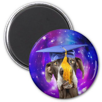 Funny Graduation Dog Wearing Hat 6 Cm Round Magnet