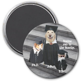 Funny Graduation Dogs & Cat 7.5 Cm Round Magnet