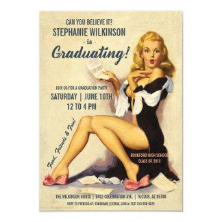 Funny Graduation Invitations | Vintage Pin-Up Girl