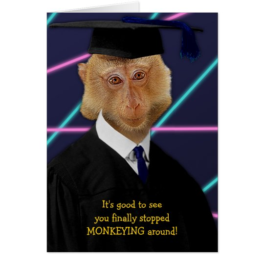 Funny Graduation Monkey Macaque Congratulations Card