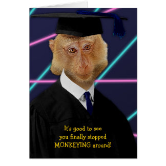 Funny Graduation Monkey Macaque Congratulations Greeting Card