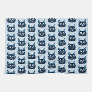 funny graphic cat head cartoon tea towel