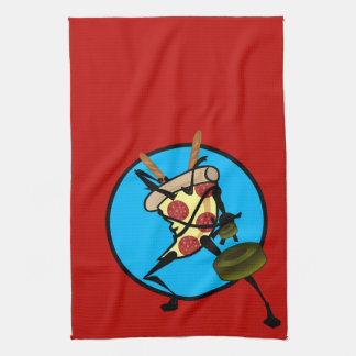 FUNNY GRAPHIC NINJA PIZZA RED KITCHEN DISH TOWEL