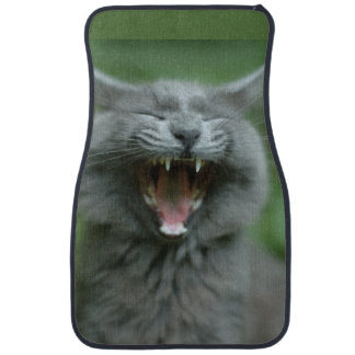 Funny Gray Long haired Cat Yawning big Floor Mat
