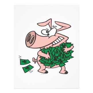 funny greedy money hog piggy pig 21.5 cm x 28 cm flyer