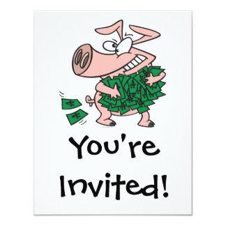 """funny greedy money hog piggy pig 4.25"""" x 5.5"""" invitation card"""