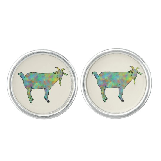 Funny Green Abstract Art Goat Animal Design Cuff