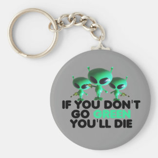 Funny green basic round button key ring