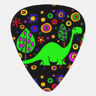 Funny Green Brontosaurus Dinosaur Abstract Art Plectrum