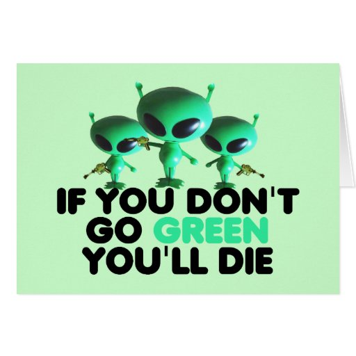 Funny green greeting cards