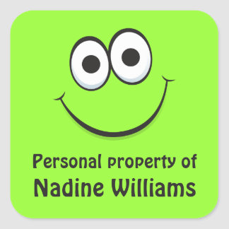 Funny green cartoon face property labels tags square sticker
