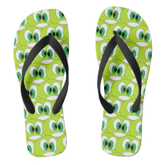 Funny Green Cartoon Faces All Over Pattern Cool Flip Flops