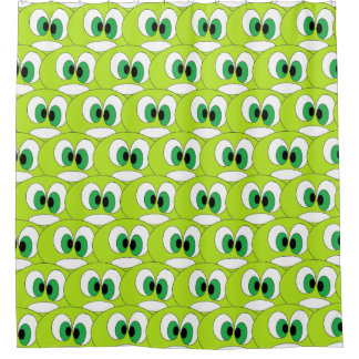 Funny Green Cartoon Faces All Over Pattern Kids Shower Curtain