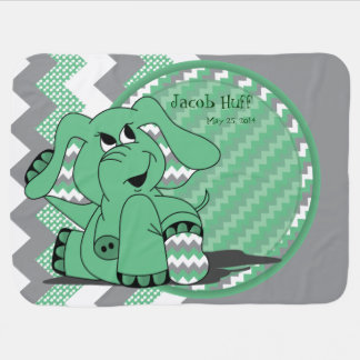 Funny Green Chevron Silly Elephant Baby Blanket