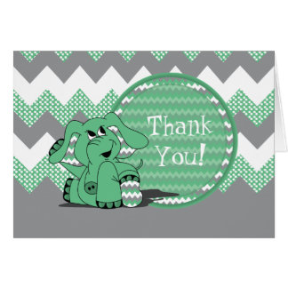 Funny Green Chevron Silly Elephant - Thank You Card