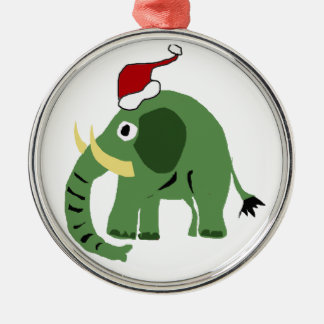 Funny Green Christmas Elephant in Santa Hat Christmas Ornament