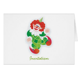 funny green clown party invitation greeting card