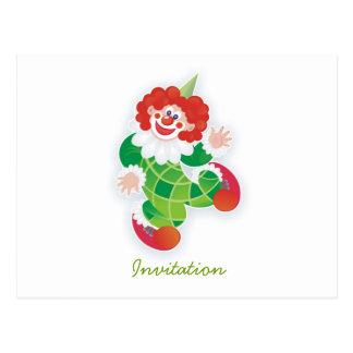 funny green clown party invitation postcard