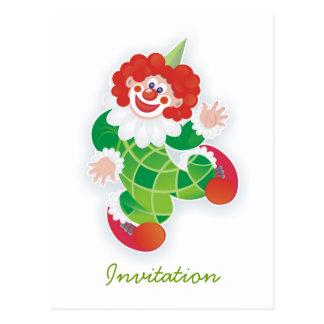 funny green clown party invitation postcards