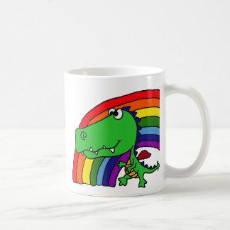 Funny Green Dragon and Rainbow Cartoon Basic White Mug