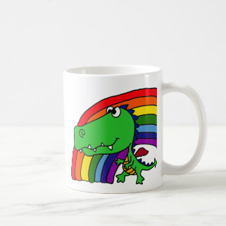 Funny Green Dragon and Rainbow Cartoon Coffee Mug