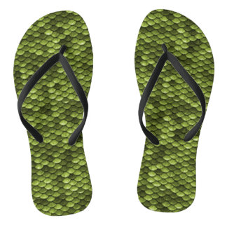 Funny Green Fish Scales Flip Flops