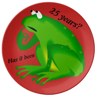Funny Green Frog 25th Anniversary Decorative Plate Porcelain Plate