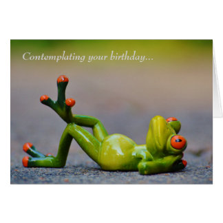 Funny Green Frog Birthday Greeting Card