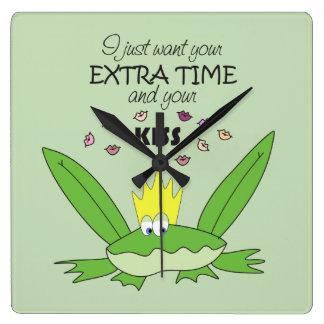 Funny Green Frog Prince Kiss Song Love Cute Kids Square Wall Clock
