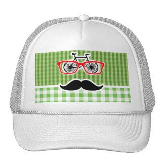 Funny Green Gingham Mustache Trucker Hat