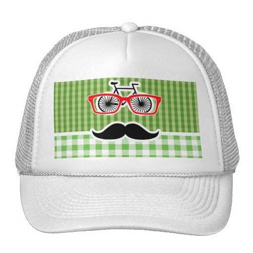 Funny Green Gingham Mustache Mesh Hats