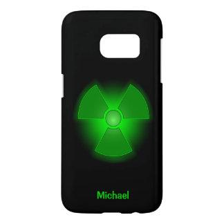 Funny green glowing radioactivity symbol