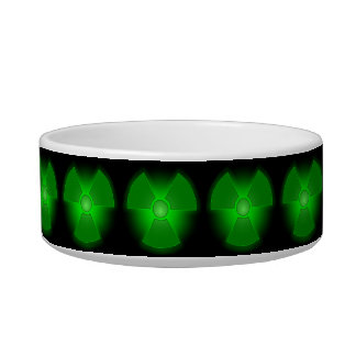 Funny green glowing radioactivity symbol cat dog bowl