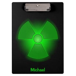 Funny green glowing radioactivity symbol clipboards