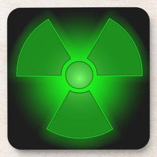 Funny green glowing radioactivity symbol coaster