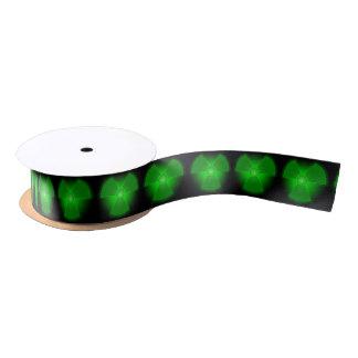 Funny green glowing radioactivity symbol satin ribbon